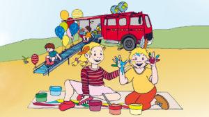 Spiel mit und im roten Feuerwehrauto!