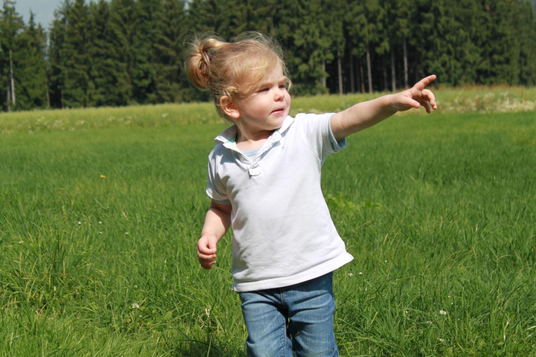 Kind auf einer Wiese am Wald.