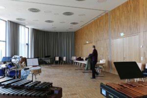 Klangmanufaktur Hof, Stadt Hof, Hofer Symphoniker, Hof Saale, Probenraum, Architektur, Hofer Symphoniker, Konzertsaal, Veranstaltungsraum, Drums, Percussion, Schlagzeug