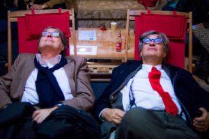 Freunde bei den Hofer Filmtagen; Heinz Badewitz und Wim Wenders. (Bild: Internationale Hofer Filmtage/Evelyn Kutschera)
