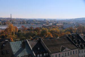 Stadt Hof; Rathausturm; Blick auf Fabrikzeile