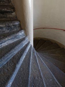 Stadt Hof; Rathausturm; Treppe; Steintreppe