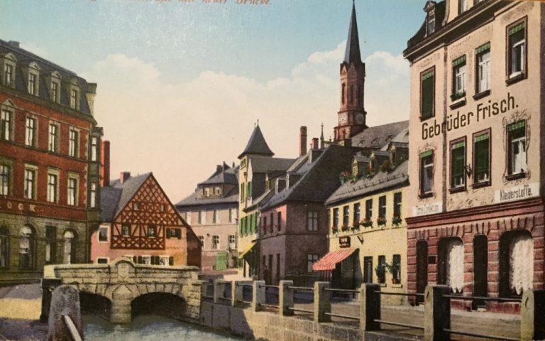 Das Fachwerkhaisla in Münchberg (Postkarte aus dem frühen 20. Jahrhundert, Slg. Klaus Foerster)