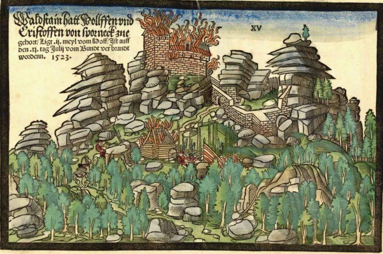 1523 fand ein militärischer Rundumschlag gegen den fränkischen Kleinadel statt: 22 Burgen wurden vom übermächtigen Heer des Schwäbischen Bundes zerstört; darunter auch die Anlagen der Herren von Sparneck im Hofer Raum wie die Waldsteinburg (Staatsbibliothek Bamberg).