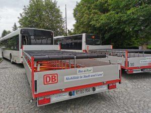 In Bad Steben angekommen. Wir sind froh, dass wir mit dem Rad-Bus fahren durften und nicht die vielen Steigungen unseres Frankenwaldes wieder hinauf radeln mussten. Der Bus fährt weiter bis zur Endstation Hof.