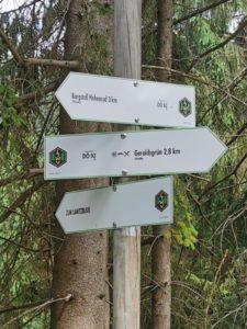 Wir folgen dem Schild zum Lamitzblick, einem wunderbarem Aussichtspunkt über das schier unendliche Bäume-Meer des Frankenwaldes.